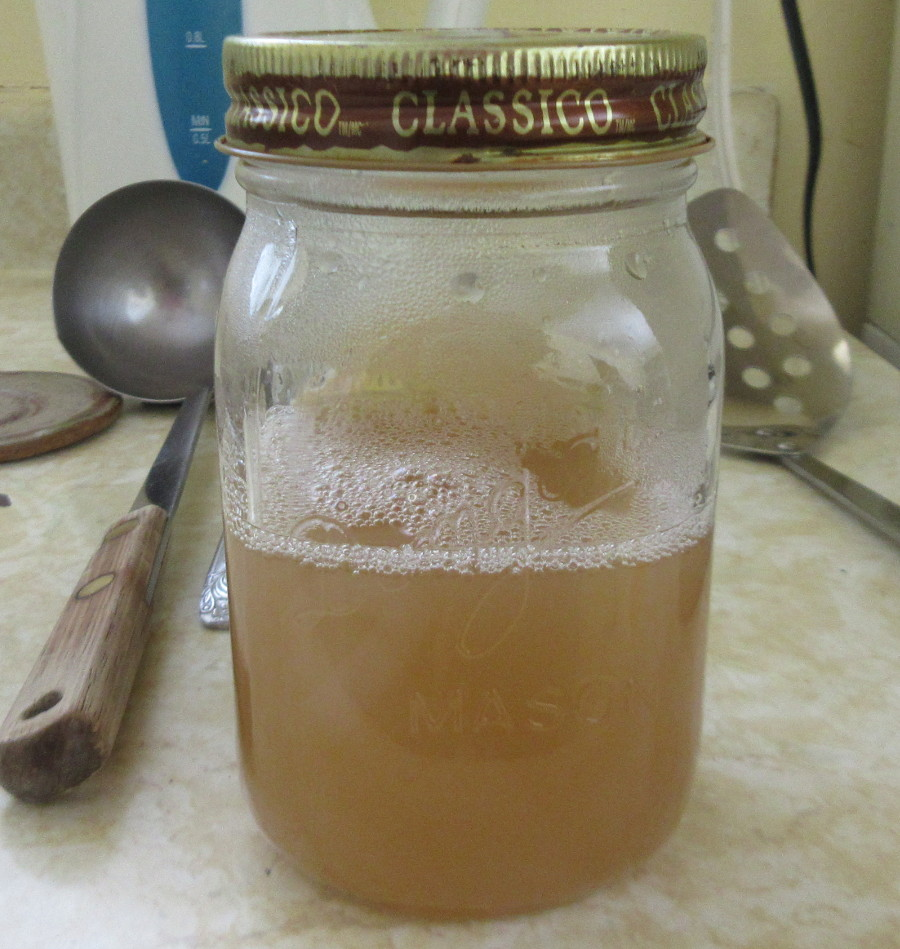 Syrup poured into jar