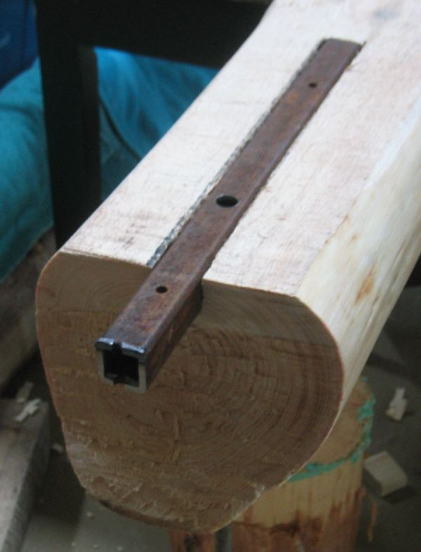 fitting beams to log with tenon